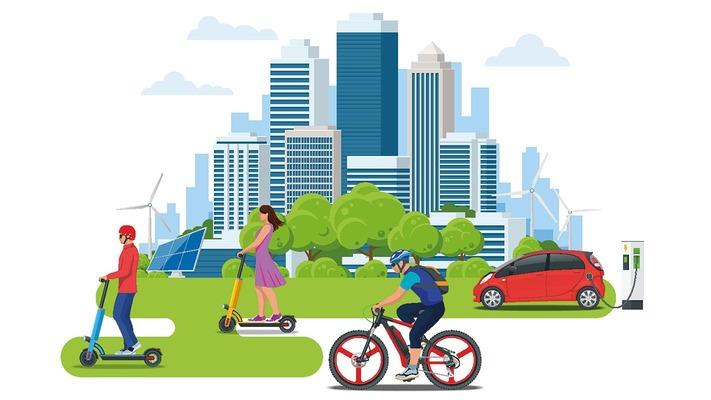 Illustration Fahrrad & Elektro-Scooter