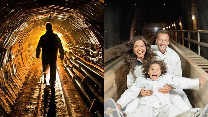links ein Mann im Stolle im Bergwerk; rechts eine Familie auf einer Rutsche im Bergwerk