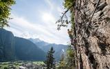 Kletterer am Klettersteig Huterlaner