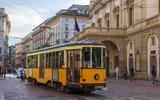 Tram di Milano nel centro della città