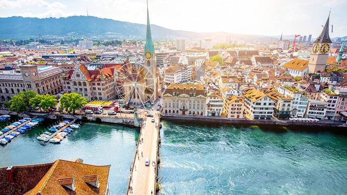 Zurich city view with river Limmat