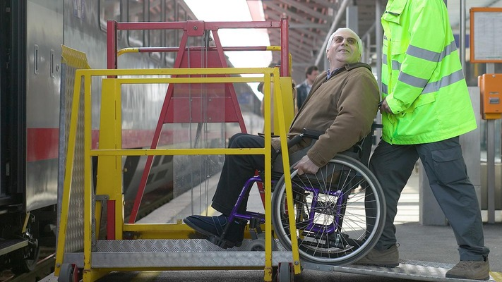 Wheelchair user on the platform