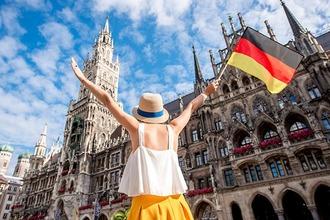 Munich Marienplatz woman with flag