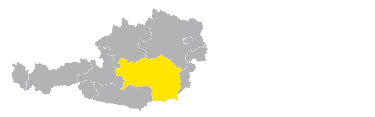 Österreichkarte mit Steiermark hervorgehoben