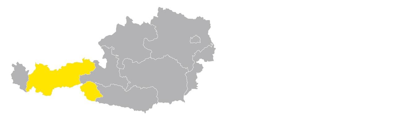 Österreichkarte mit Tirol hervorgehoben