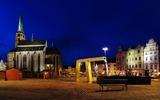 Hauptplatz von Pilsen bei Nacht
