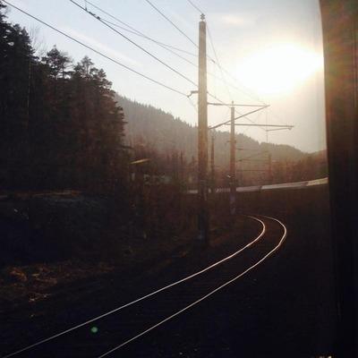 Blick aus dem Zugfenster auf Gleise bei Sonnenuntergang