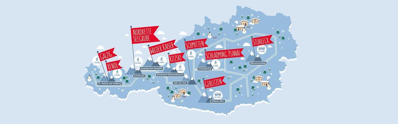 Karte zu Skigebieten in Österreich