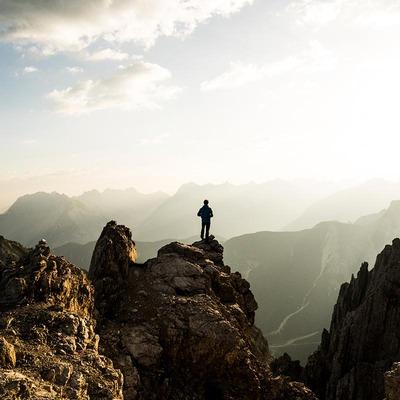 Sonnenaufgang auf der Rosshuette Richtung Reither Spitze