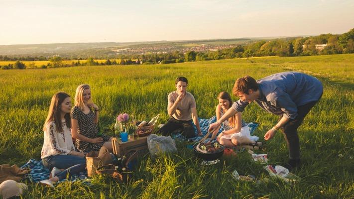 Freunde sitzen auf einer Wiese und picknicken