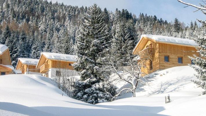 Ferienhäuser in Winterlandschaft