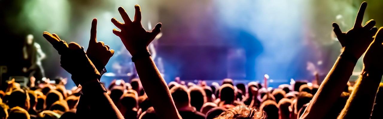 Blick über die Köpfe von Zuschauern eines Konzerts