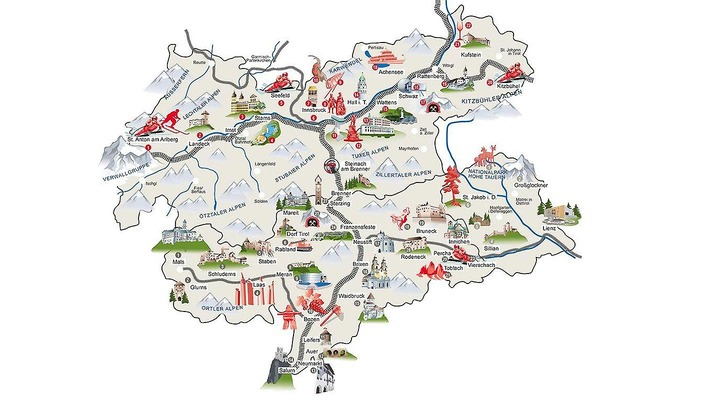 Map with excursion destinations in Tyrol
