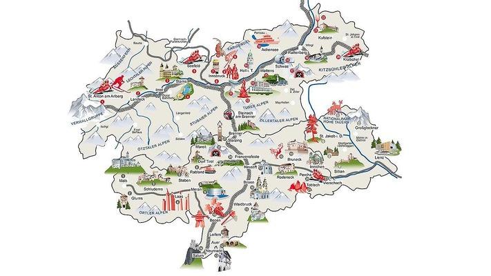 Karte mit Ausflugszielen in Tirol