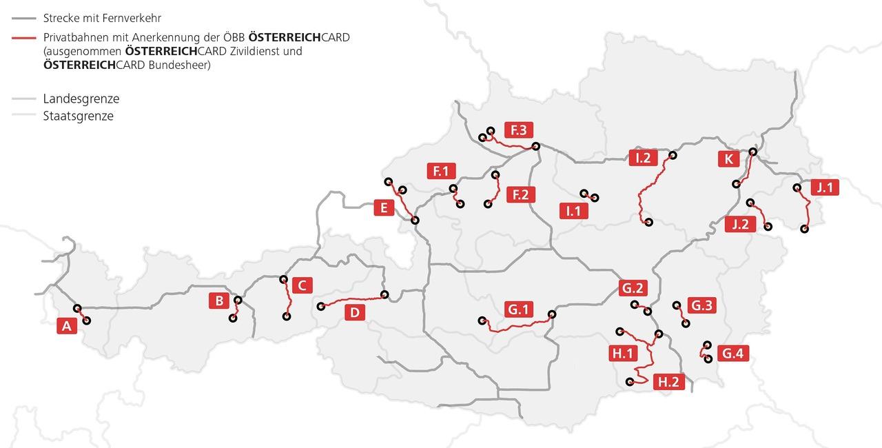 Gültigkeitsübersicht der Österreichcard bei Privatbahnen. Fernverkehrs- und Privatbahnstrecken sind hervorgehoben. Ausnahme sind die Österreichcard Zivildienst und Österreichcard Bundesheer.