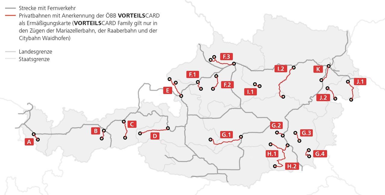 Gültigkeitsübersicht der Vorteilscard bei Privatbahnen. Fernverkehrs- und Privatbahnstrecken sind hervorgehoben. Die VC Family gilt nur auf der Mariazellerbahn, der Raaberbahn und der Citybahn Waidhofen.