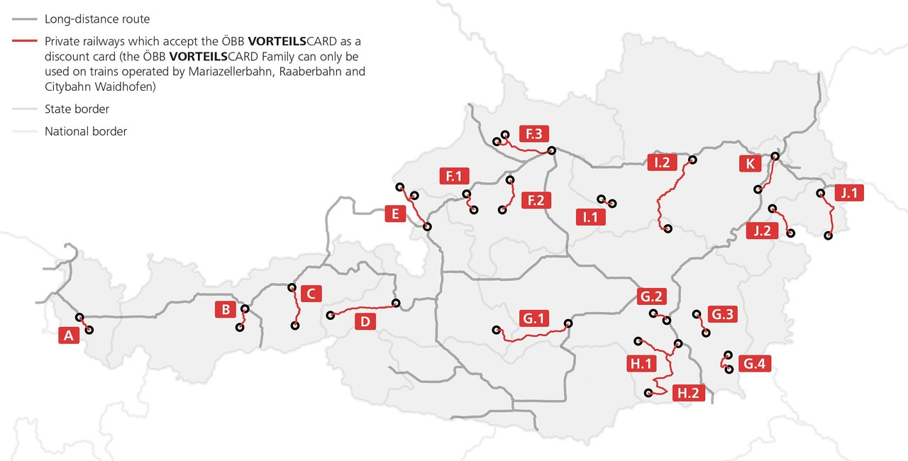 Acceptance of the Vorteilscard by private railways. Long distance- and private railway-routes are highlighted. VC Family is only valid on Mariazellerbahn, Raaberbahn and Citybahn Waidhofen.