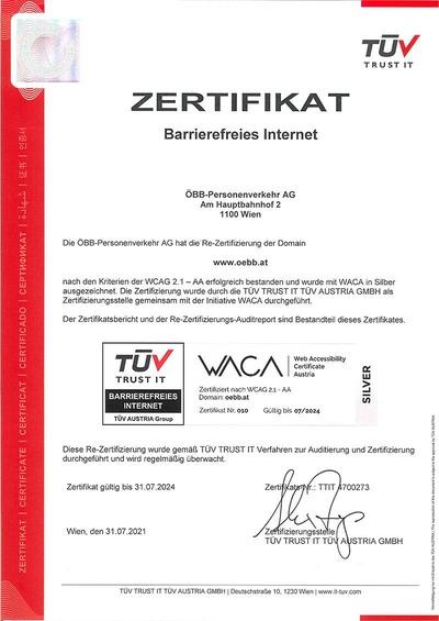 WACA Zertifikat oebb.at