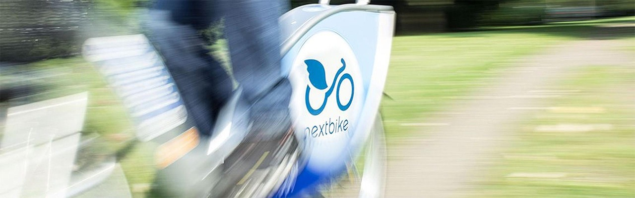 Close-up of a Nextbike bike