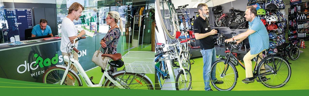 Fahrradfahrer bei der Radstation in Wien