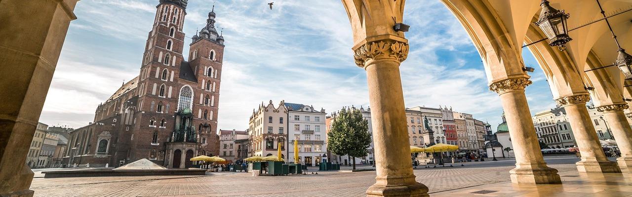 Stadtplatz zu Mittag in Krakau