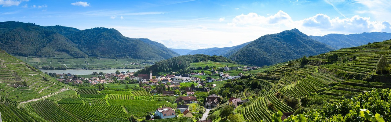 Panoramic view over the Wachau mountains