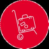 Icon mit Abholung und Koffer