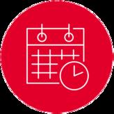 Icon mit Kalender und Uhr