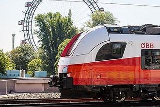 Cityjet mit Riesenrad des Wiener Prater im Hintergrund