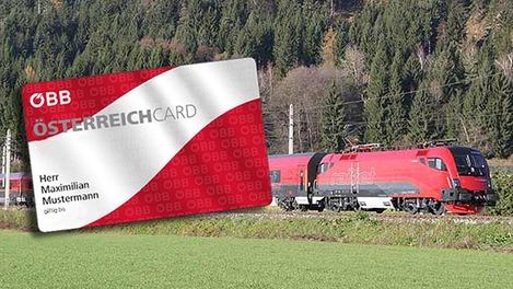 Fotomontage: Österreichcard vor Railjet