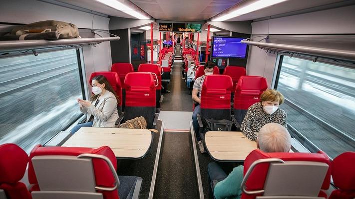 Personen sitzen im ÖBB Cityjet