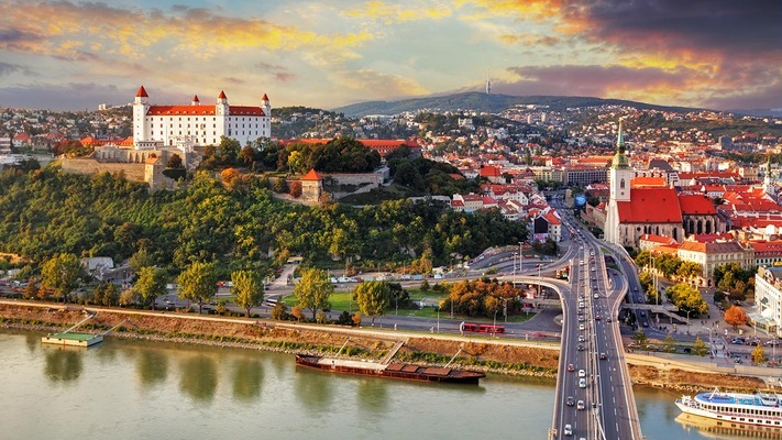 City panorama with castle in Bratislava