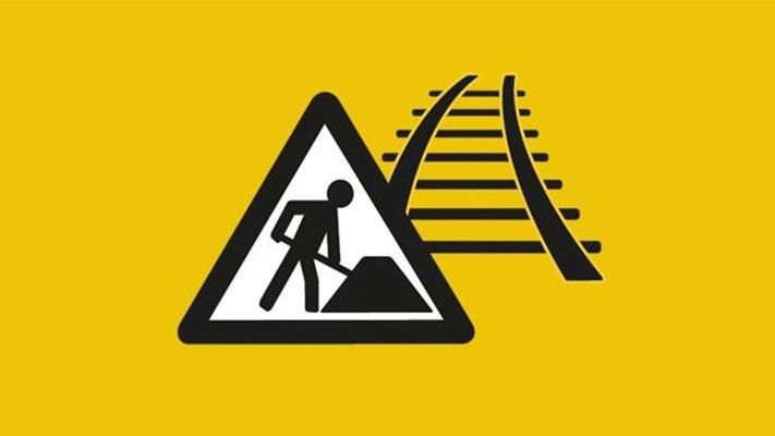 Baustellen Symbol mit Schienen