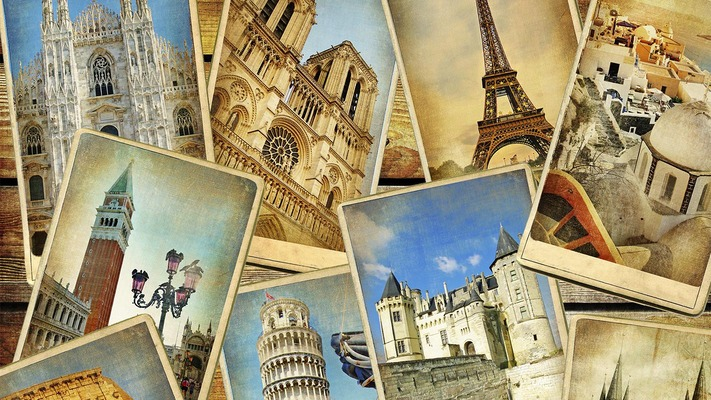 Photo collage of destinations in Europe
