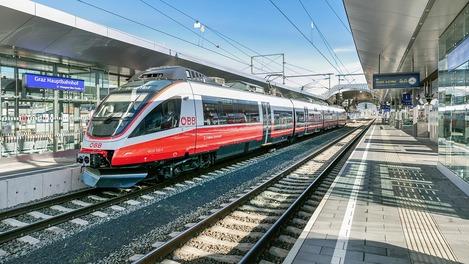 Talent1 steht am Bahnsteig in Graz