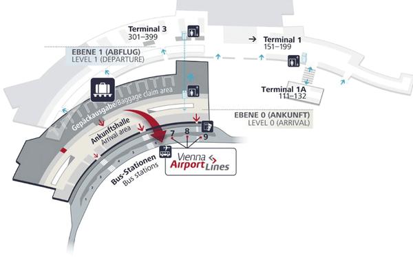 Stationsplan vom Flughafen Wien